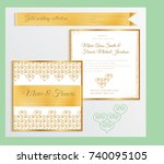 luxury wedding invitation... | Shutterstock .eps vector #740095105
