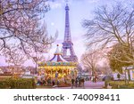 the eiffel tower and vintage... | Shutterstock . vector #740098411