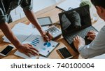 businessman a check data of... | Shutterstock . vector #740100004