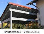 wooden carport | Shutterstock . vector #740100211