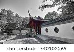 asia style garden in montreal ... | Shutterstock . vector #740102569