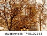 autumn trees in paris park in... | Shutterstock . vector #740102965