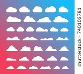 white clouds silhouettes vector ... | Shutterstock .eps vector #740103781