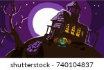 halloween night background with ... | Shutterstock .eps vector #740104837