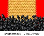 sunflower seeds background with ... | Shutterstock .eps vector #740104909