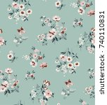 trendy seamless floral pattern... | Shutterstock .eps vector #740110831