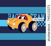 cute cartoon car vector... | Shutterstock .eps vector #740112271