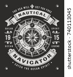 vintage nautical navigator... | Shutterstock .eps vector #740113045