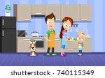 vector illustration of happy... | Shutterstock .eps vector #740115349