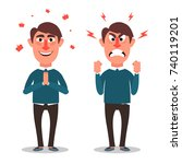 the office worker is angry and... | Shutterstock .eps vector #740119201