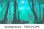 a deer in the night forest. | Shutterstock .eps vector #740121295