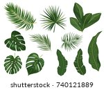 tropical palm leaves  jungle... | Shutterstock .eps vector #740121889
