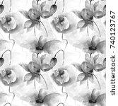 seamless wallpaper with garden...   Shutterstock . vector #740123767