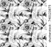 seamless pattern with romantic... | Shutterstock . vector #740123875