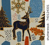 christmas pattern design. deer... | Shutterstock .eps vector #740124331