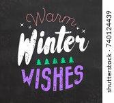 typographic christmas design  ... | Shutterstock .eps vector #740124439