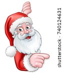 christmas cartoon of santa... | Shutterstock .eps vector #740124631