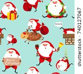 santa claus  christmas set ... | Shutterstock .eps vector #740127067