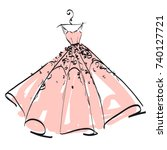 wedding dress design  pink and... | Shutterstock .eps vector #740127721