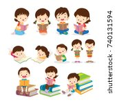 cute children sitting while... | Shutterstock .eps vector #740131594
