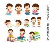 cute children sitting while... | Shutterstock .eps vector #740131594