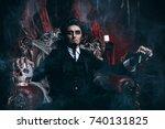 halloween. frightening gloomy... | Shutterstock . vector #740131825