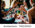 party dinner table  celebrating ... | Shutterstock . vector #740133421