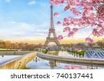 eiffel tower in the spring... | Shutterstock . vector #740137441