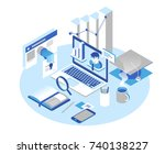 online education concept.... | Shutterstock .eps vector #740138227