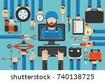 car service computer online... | Shutterstock .eps vector #740138725