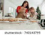 happy mother and daughter... | Shutterstock . vector #740143795