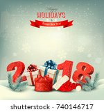 holiday background with gift... | Shutterstock .eps vector #740146717