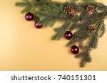 christmas background with fir... | Shutterstock . vector #740151301