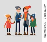 happy family ready for winter... | Shutterstock .eps vector #740156389