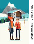 young adult couple enjoying... | Shutterstock .eps vector #740156407