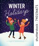 lovely winter holidays vector... | Shutterstock .eps vector #740156671