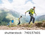 portrait of a group of tourists ... | Shutterstock . vector #740157601