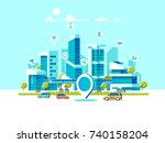 smart city flat. cityscape... | Shutterstock .eps vector #740158204