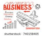 business doodles sketch.... | Shutterstock .eps vector #740158405
