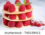 exquisite dessert with cookies  ... | Shutterstock . vector #740158411