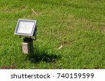 close up outdoor led lamp on... | Shutterstock . vector #740159599