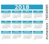 calendar 2018 year in simple... | Shutterstock .eps vector #740160085