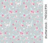 seamless floral pattern.... | Shutterstock .eps vector #740161954