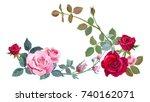 horizontal border with branch... | Shutterstock .eps vector #740162071