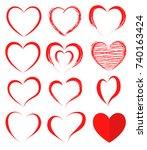 vector hearts set. hearts icons.... | Shutterstock .eps vector #740163424