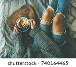 healthy winter breakfast in bed.... | Shutterstock . vector #740164465