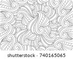 coloring page of monochrome... | Shutterstock .eps vector #740165065