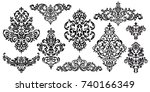 set of oriental vector damask... | Shutterstock .eps vector #740166349