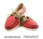 red and yellow suede men's top... | Shutterstock . vector #740169217