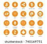 vector set of cryptocurrency... | Shutterstock .eps vector #740169751